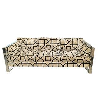 Milo Baughman Flat Bar Chrome Sofa For Sale