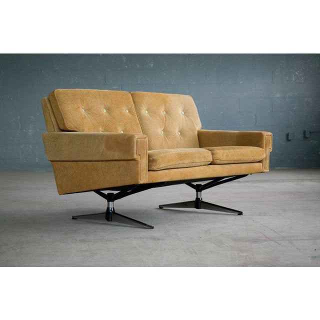 Svend Skipper Attributed Airport-Style Suede Two-Seat Sofa or Settee - Image 2 of 7