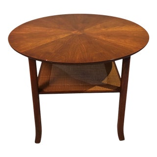 Mid Century Walnut Round Circle End Table With Canning on the Bottom 1960s Circa For Sale