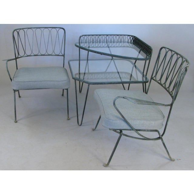 Pair of Italian 1950s Lounge Chairs and Table by Salterini For Sale - Image 9 of 9