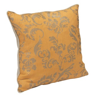 """Ravenna"" Tangerine Hand Printed 20"" Decorative Pillow"