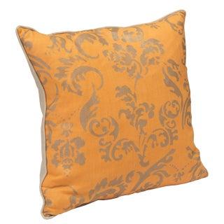 """Ravenna"" Tangerine Hand Printed 20"" Decorative Pillow For Sale"