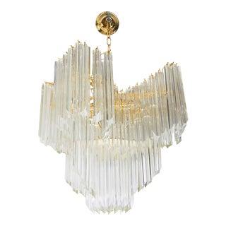 Venini Modern Chandelier with Murano Glass Quatro Punta Prisms For Sale