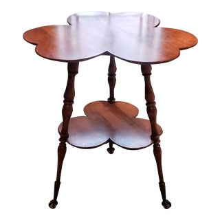 19th Century Victorian Clover Shape 2 Tier Parlor Side Table