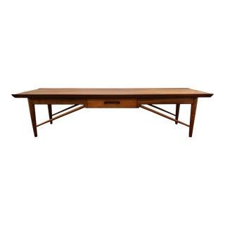 Mid Century Heritage Henredon Walnut Coffee Table For Sale