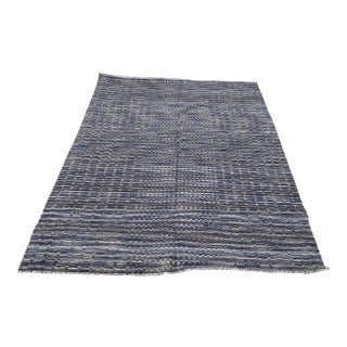 1990s Vintage Hand-Knotted Wool Gabbeh Rug - 5′3″ × 7′7″ For Sale