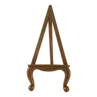 Vintage Gold Wood Table Easel For Sale