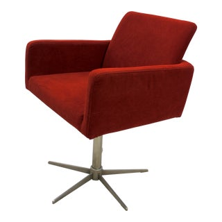Bo Concept Rust Orange Corduroy Swivel Armchair For Sale