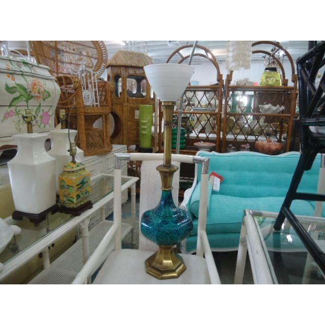 Mid-Century Turquoise Glazed Lamp - Image 6 of 9