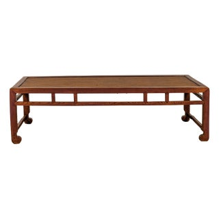 Chinese Long Coffee Table With Elmwood Patina, Scrolled Feet and Humpback Apron For Sale