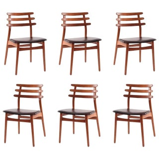 1950s Vintage Poul Volther Oak and Leather Dining Chairs- Set of 6 For Sale