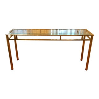 Mastercraft Brass Console With Glass Top For Sale