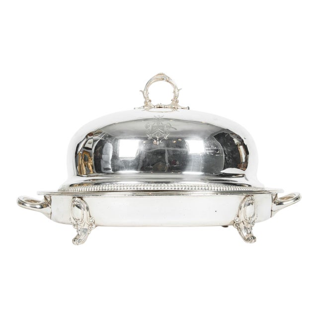 English Silver Plate Venison Dish With Covered Dome For Sale