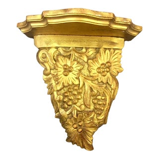 1970s Hollywood Regency Gilded Hand Carved Wooden Wall Shelf For Sale