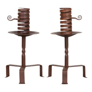 Dutch Wrought-Iron Courting Candlesticks - a Pair For Sale