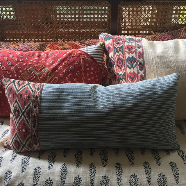 One of a Kind Pillow With Vintage Textile Trim For Sale - Image 5 of 5