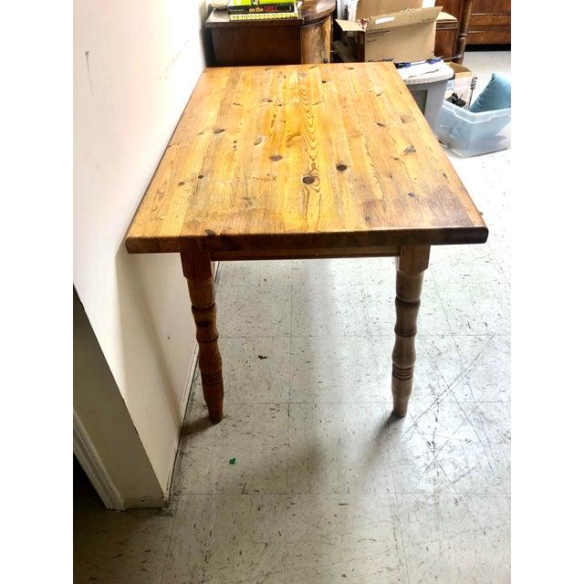 Farmhouse Vintage Farmhouse Small Pine Table /Island For Sale - Image 3 of 10