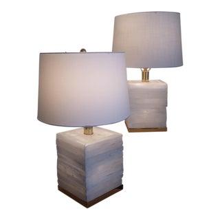 1990s Vintage Ron Dier Selenite Lamps- A Pair For Sale