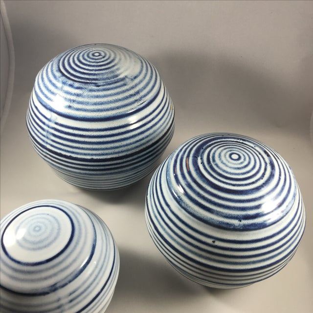 Ceramic Spheres with Blue & White Stripes - 3 - Image 3 of 3