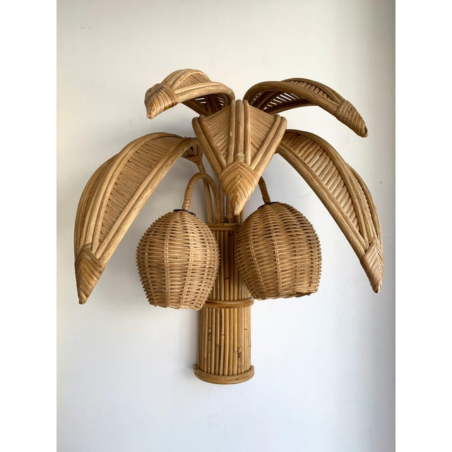 1980s Rattan Palm Tree Sconces, France - a Pair For Sale - Image 10 of 13