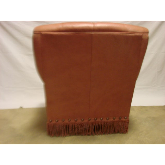 Leather Chairs With Tufting & Fringe - Pair - Image 6 of 7
