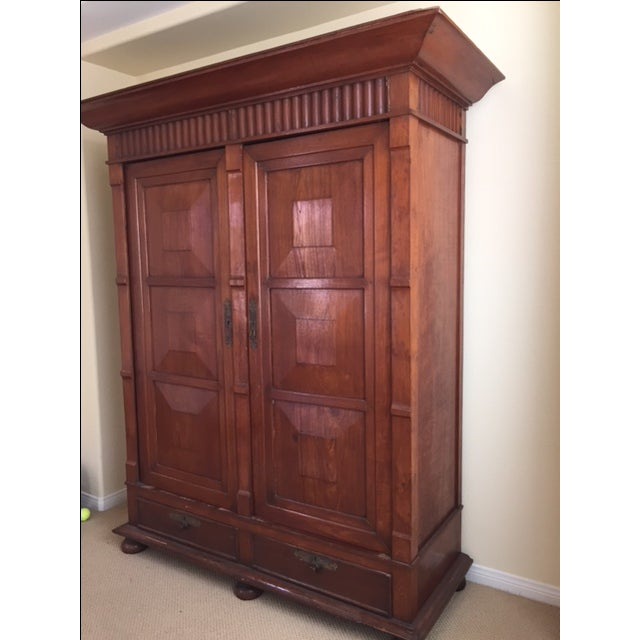 Solid Teak Art Deco Wood Armoire - Image 5 of 7