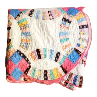 1920's Cottage Double Wedding Ring Quilt For Sale