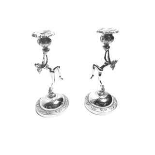 Vintage Art Deco Chrome Candlestick Holders - a Pair For Sale
