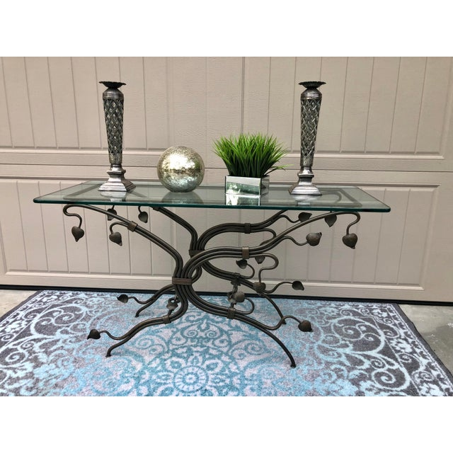 Arts and Crafts Glass Top Iron Console Table For Sale In Savannah - Image 6 of 9