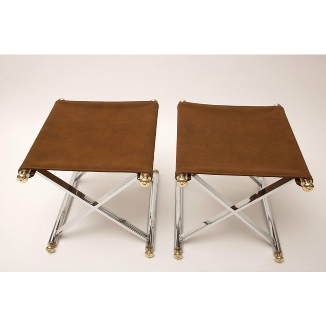 Pair of Hollywood-Regency X-Base Stools, Polished Chrome, Brass and Faux Suede - Image 4 of 11