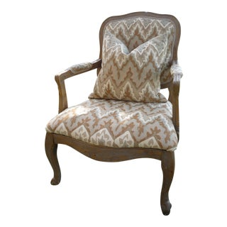 Caramel & Gray Chevron Rustic Bergere For Sale