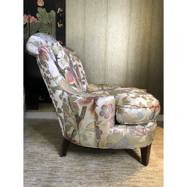 1940s Pullman Armless Floral Silk Upholstered Slipper Chairs - a Pair For Sale - Image 10 of 13