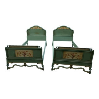 1920s's Traditional Berkey & Gay Green Wood Twin Beds - a Pair