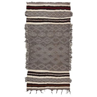 20th Century Moroccan Black and White Wool Zanafi Glaoua Rug
