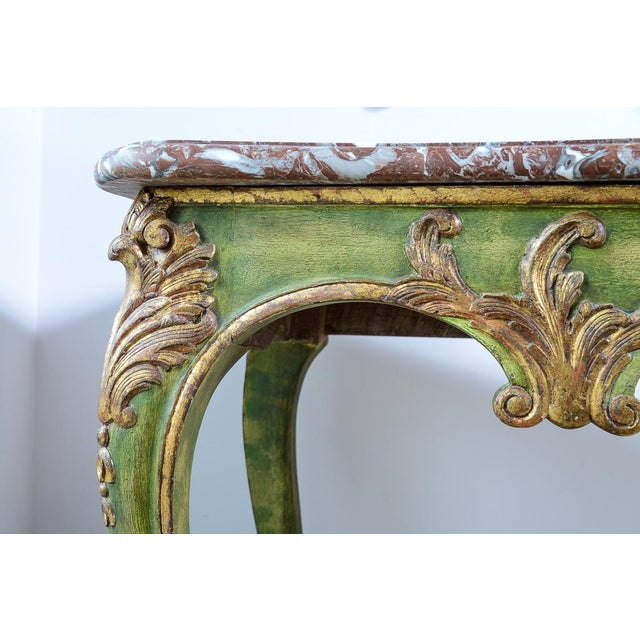 French Antique Painted & Parcel Gilt Louis XV Style Console Table With Marble Top For Sale - Image 3 of 12