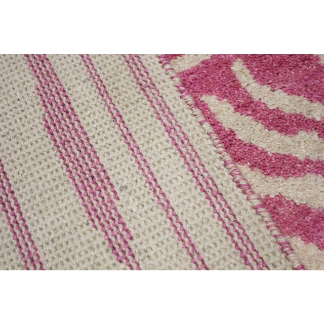 Art Deco 2020 Aara Rugs Pink Handknotted Wool Rug For Sale - Image 3 of 9