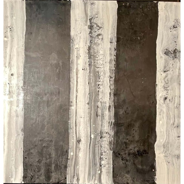"1990s Lynn Basa Encaustic Black and White Stripe Panel ""Camino"", 2018 For Sale - Image 5 of 11"
