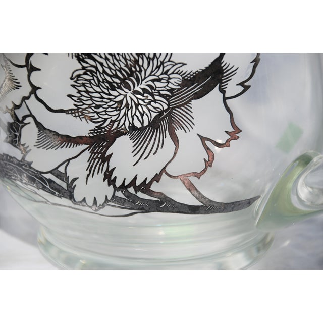 Vintage Sterling Silver Overlay Glass Pitcher For Sale - Image 5 of 9