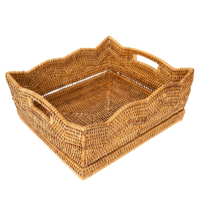 Artifacts Rattan Scallop Collection Rectangular Basket For Sale