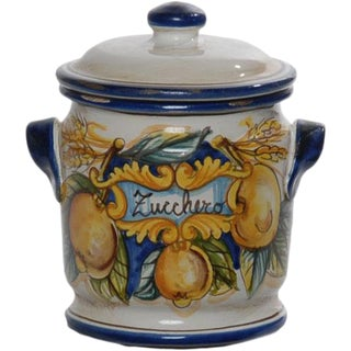 Italian Handpainted Ceramic Zucchero Canister For Sale