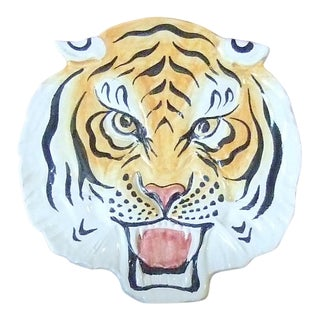 Vintage Italian Tiger Head Candy Dish For Sale