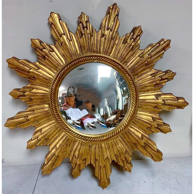 Carved Italian Hollywood Regency Sunburst Mirror For Sale - Image 4 of 6
