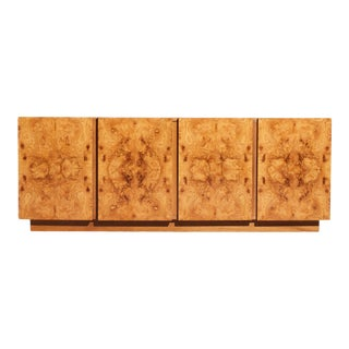 1970s Olive Burl Wood Credenza by Roland Carter for Lane For Sale