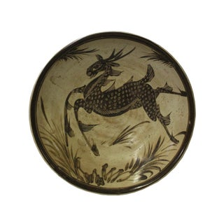Chinese Cizhou Ware Ceramic Black Underglaze Deer Round Plate For Sale