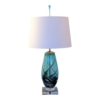 Art Glass Lamp With Shade in Crisp Aqua Blue With Controlled Swirls. Signed 2020. For Sale