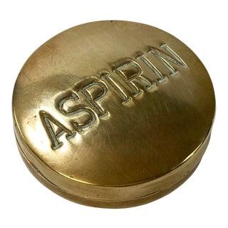 Brass Aspirin Pill Box For Sale