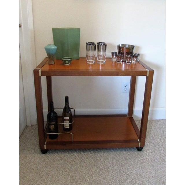 Mid Century Wood & Brass Bar Cart - Image 10 of 10