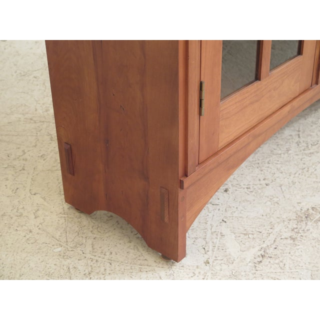 2000 - 2009 Stickley Mission Cherry Leaded Glass 2 Door Bookcase For Sale - Image 5 of 13