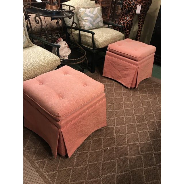 Vintage Pink Tufted Skirted Upholstered Ottomans-A Pair For Sale - Image 10 of 11