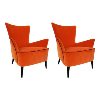 Pair of comfortable Italian mid century modern reupholstered orange velvet armchairs